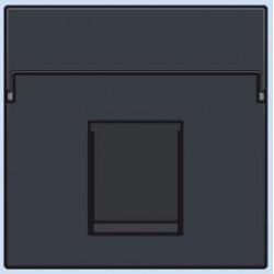 122-65100 Komplettierungsset mit nicht-transparenten Textfeld 1/2xRJ45 UTP Flachauslass Anthrazit
