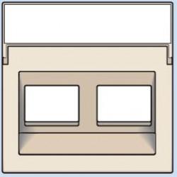 100-65400 Komplettierungsset mit transparentem Textfeld 1/2xRJ45 UTP Schrägauslass Creme
