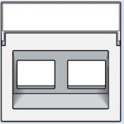 101-65400 Komplettierungsset mit transparentem Textfeld 1/2xRJ45 UTP Schrägauslass Reinweiß