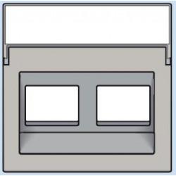 102-65400 Komplettierungsset mit transparentem Textfeld 1/2xRJ45 UTP Schrägauslass Hellgrau