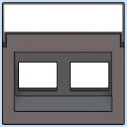 104-65400 Komplettierungsset mit transparentem Textfeld 1/2xRJ45 UTP Schrägauslass Greige