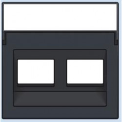 122-65400 Komplettierungsset mit transparentem Textfeld 1/2xRJ45 UTP Schrägauslass Anthrazit