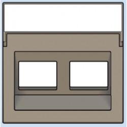 123-65400 Komplettierungsset mit transparentem Textfeld 1/2xRJ45 UTP Schrägauslass Bronze